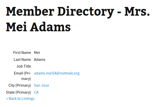 Member Directory Individual Contact View