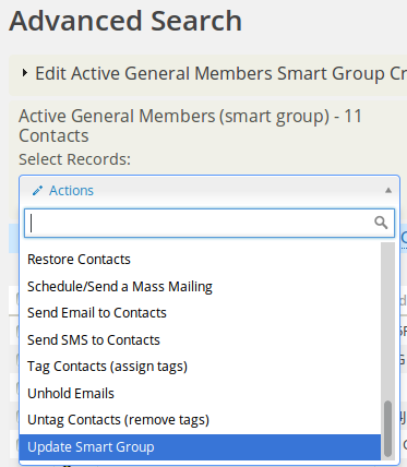 Save changes by selecting Update Existing Smart Group