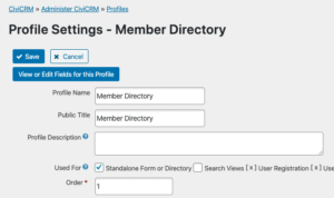 Profile settings for Member Directory