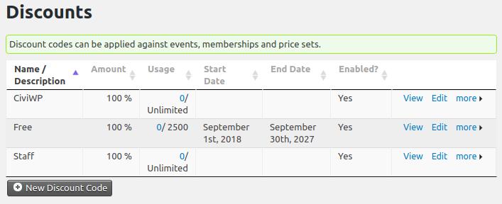 CiviDiscount default page
