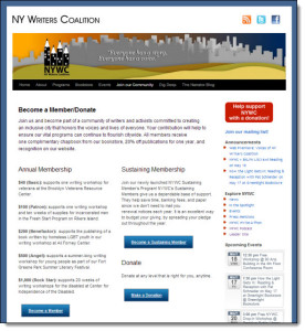 New York Writers Coalition CiviCRM/WordPress implementation