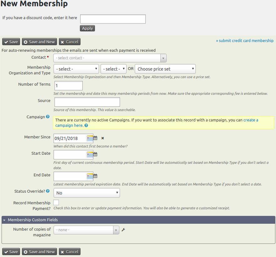 Admin Membership Entry