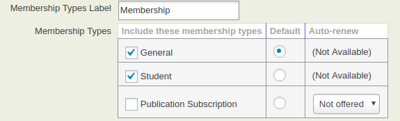 Check Member Types to use on this Contribution Page