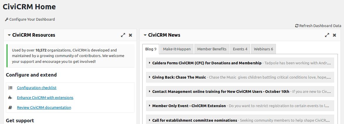 CiviCRM Welcome Dashboard