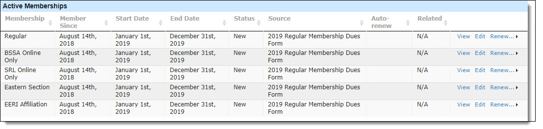 CiviCRM Membership Record