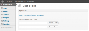 WordPress Network Admin Dashboard