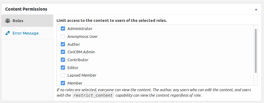 Role Based Content Permissions