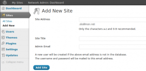 WordPress Multisite Add New Site
