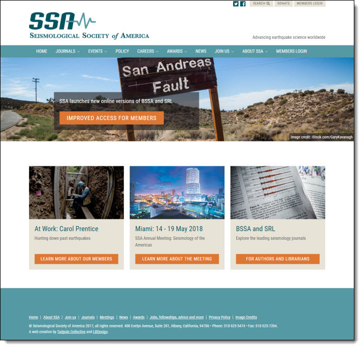 CiviCRM WordPress Website for the Seismological Society of America