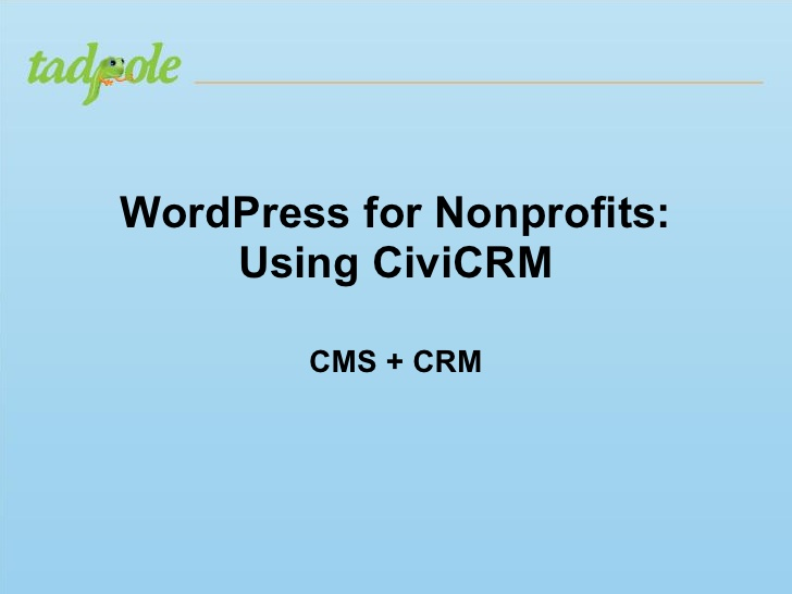 WordPress for Non-Profits Using CiviCRM